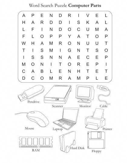 Word Search Puzzle Computer Parts Download Free Word Search Puzzle Computer Parts For Kids Best Color Computer Basics Computer Lab Lessons Computer Teacher