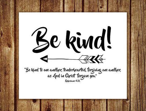 Be kind arrow print | Ephesians 4:32 Bible verse wall art | Cursive nursery art printable quote | Boho Baby Boy Nursery Decor Art