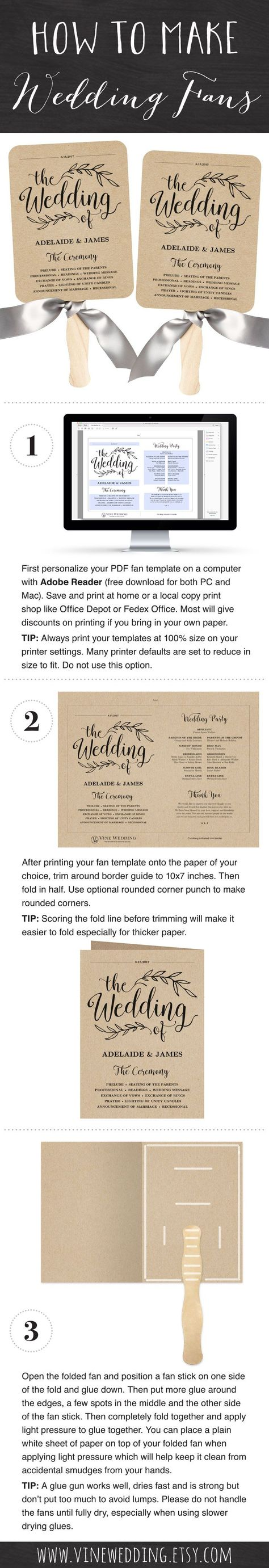 Printable wedding fan program template  DIY kraft paper