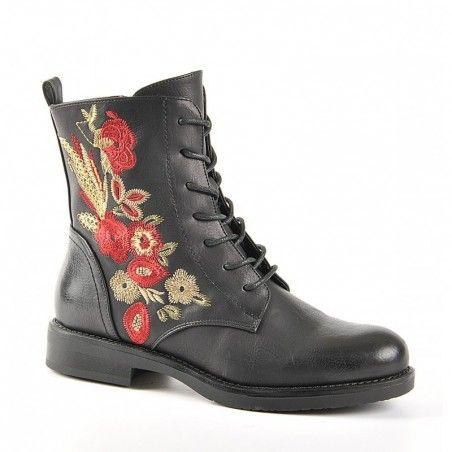 NoirShoe Broderies Vice Versa Plates Bottines Boots Avec CtBhdQrxs