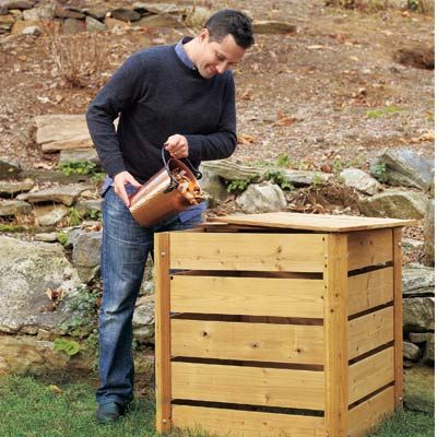 DIY compost bin with scrap 1x2's and 1/4 inch galvanized hardware cloth to keep out critters and let air circulate.
