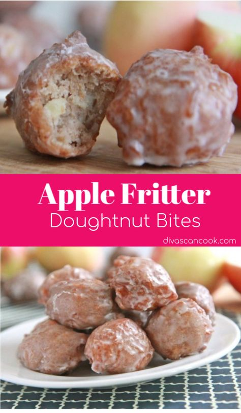 Easy, homemade apple fritter doughnut bites with a simple glaze. Moist, fluffy and full of apple cinnamon flavor. Addictive, from scratch apple fritters. Köstliche Desserts, Delicious Desserts, Dessert Recipes, Yummy Food, Bite Size Desserts, Snacks Recipes, Health Desserts, Tasty, Muffins Chocolate Chip