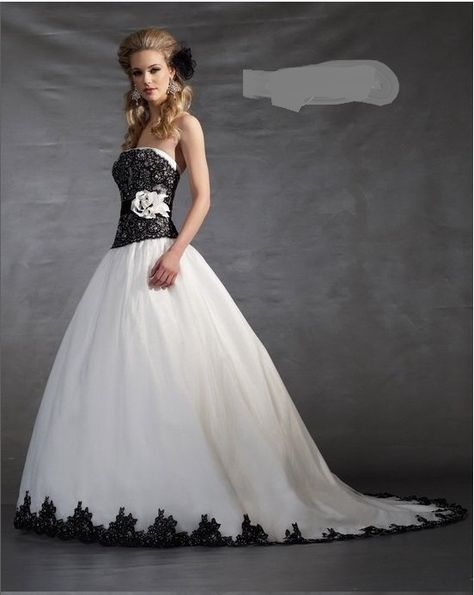 Black And White Corset Wedding Dress White And Black