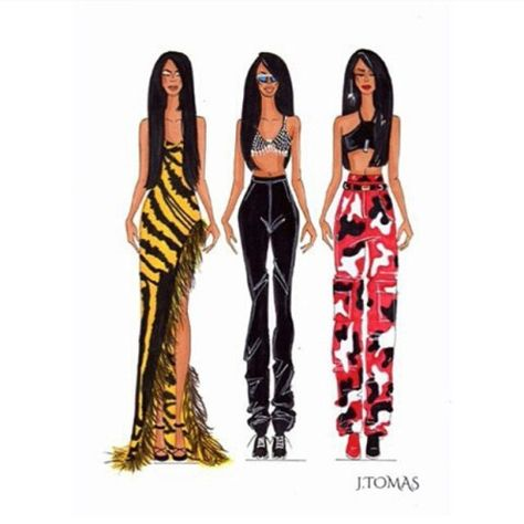 Some of Aaliyah's popular outfits.