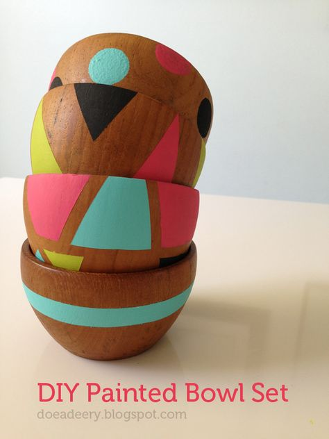 DIY painted wooden bowls