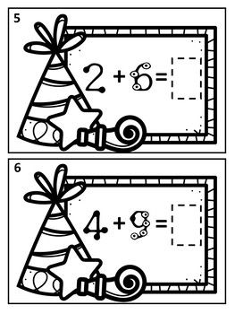 January New Year Touch Math Addition Task Cards: Single