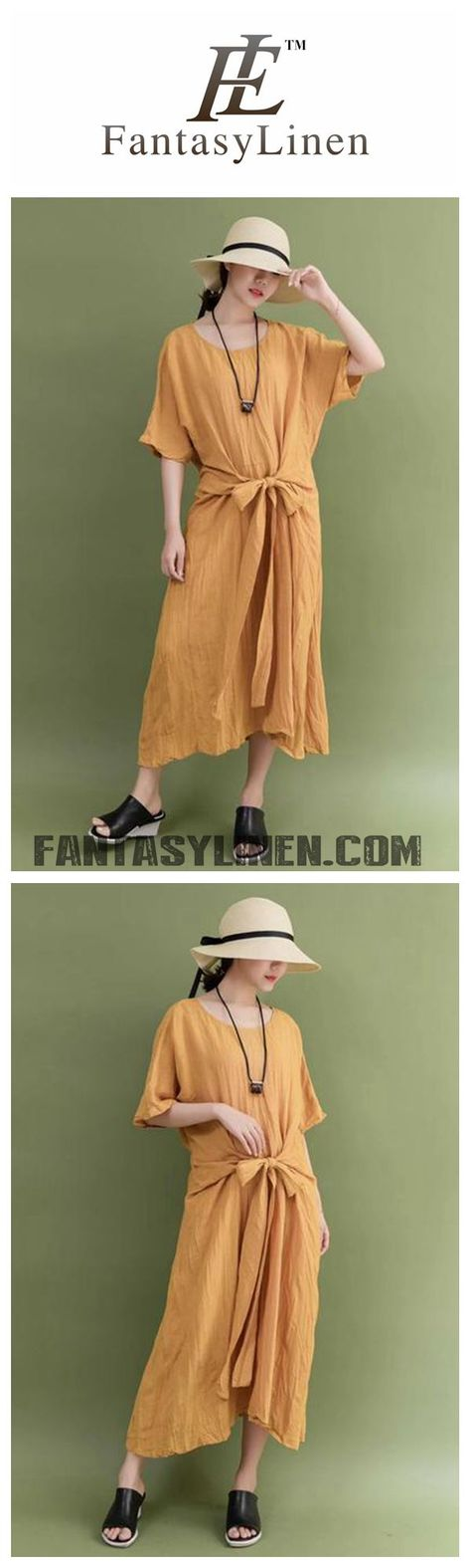 a4048506a315 SUMMER LINEN YELLOW BOW WAIST PLUS SIZE CASUAL LOOSE FITTING LONG MAXI  DRESSES FOR WOMEN