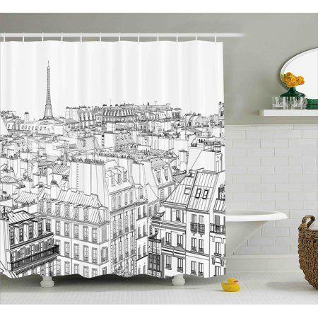 paris shower curtain architecture