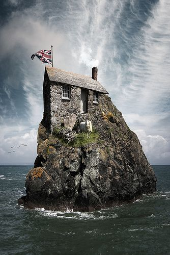 The real life hut on the rock! And it even comes with a sheep...which from what I can see, had to be air-lifted in! :)