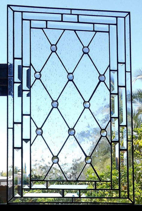 Diamond Grid Stained Glass Window Panel or Cabinet Door Insert