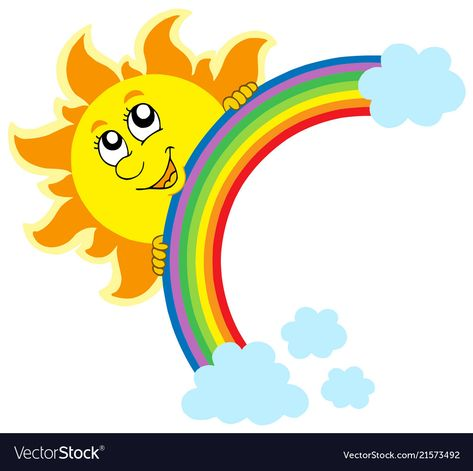 Lurking Sun with rainbow - vector illustration. Download a Free Preview or High Quality Adobe Illustrator Ai, EPS, PDF and High Resolution JPEG versions. ID #21573492.