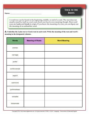 Worksheet | Stick to the Roots | Underline the Latin root or ...