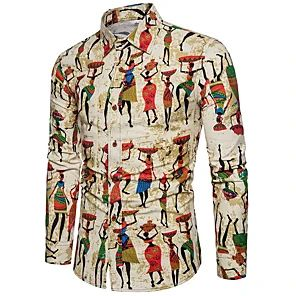 Coolred-Men Floral Print Long-Sleeve Stylish Casual Button Down Shirts