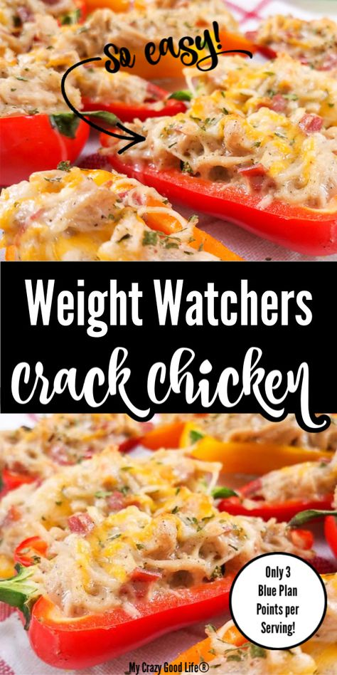 This easy Weight Watchers Crack Chicken recipe is so tasty and only 3 Blue Plan Points per serving! I love stuffing this cheesy dip into peppers for a healthy appetizer. Perfect for happy hour or game day! Weight Watchers Snacks, Weight Watchers Meal Plans, Weight Watcher Dinners, Weight Watchers Chicken, Ww Recipes, Chicken Recipes, Cooking Recipes, Healthy Recipes, Dinner Recipes