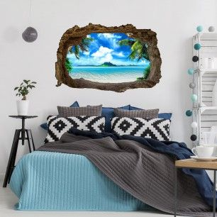 3d Wandgestaltung Fur Echtes Urlaubsflair Zu Hause 3d Wandtattoo Mit Palmen Strand Und Meer 3d Wandtattoo Wandgestaltung Dekor