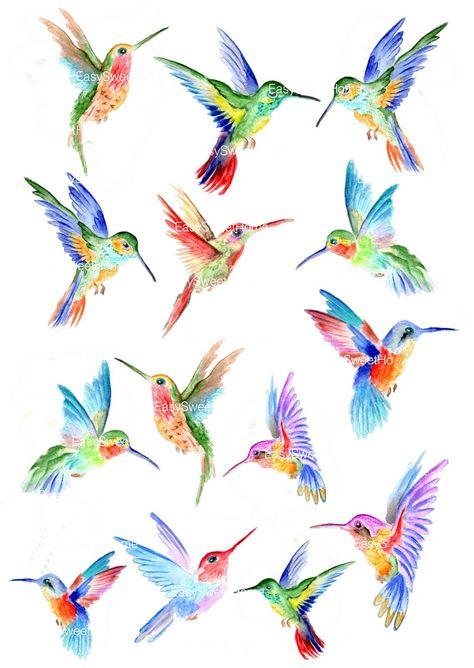 Hummingbird Wall Decals Hummingbird Vinyl Decals for Tiny Bird Tattoos, Mini Tattoos, Small Tattoos, Tree Tattoos, Hummingbird Tattoo Watercolor, Watercolor Bird, Colorful Hummingbird Tattoo, Raven Tattoo, Tattoo Ink
