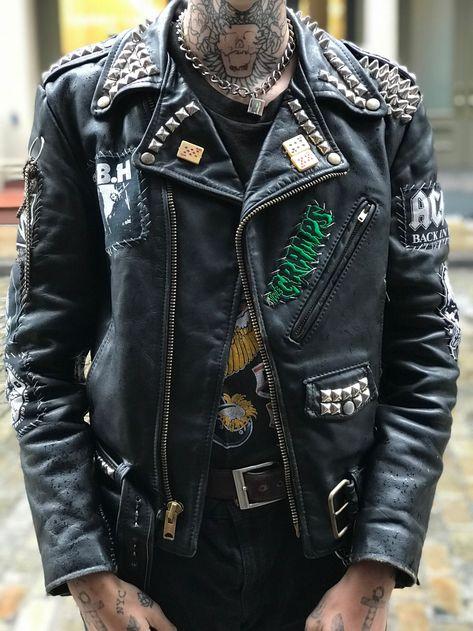 Riders Jacket, Moto Jacket, Boys Leather Jacket, Leather Jacket Patches, Studded Leather Jacket, Punk Dress, Lolita Dress, Punk Guys, Punk Outfits