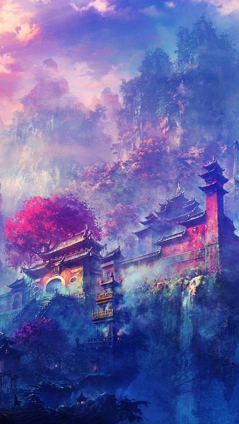 Japanese art wallpaper. Japanese houses, japan, colors, painting, art, iPhone, Android, wallpaper, sazum 2017.