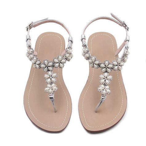 5ed03bf08 azmodo Women Wedding Flat Sandals with Rhinestones Flip Flop Gladiator  Shoes Silver Color Y13     Thanks a lot for seeing our photo.