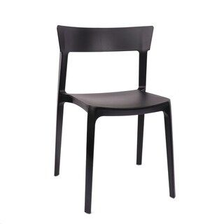 Rho Black Modern Stackable Dining Chair Set Of 4 Black Design