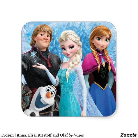 Frozen | Anna, Elsa, Kristoff and Olaf Square Sticker  #Disney #DisneyPartySupplies #DisneyPartyPlanning #PartySupplies