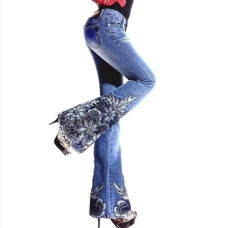 Primavera De Lujo Con Cuentas Bordadas A Media Cintura Grandes Pantalones Vaqueros Acampanados Para Mujer Boot Cu Mezclilla Y Encaje Jeans De Moda Ropa De Moda