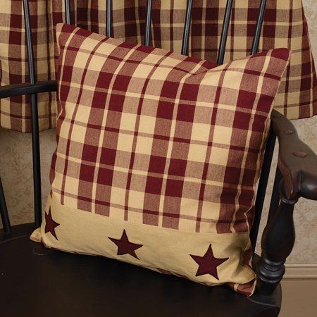 BURGUNDY STAR Country Primitive Rustic WOVEN THROW 60x50 Burgundy Tan