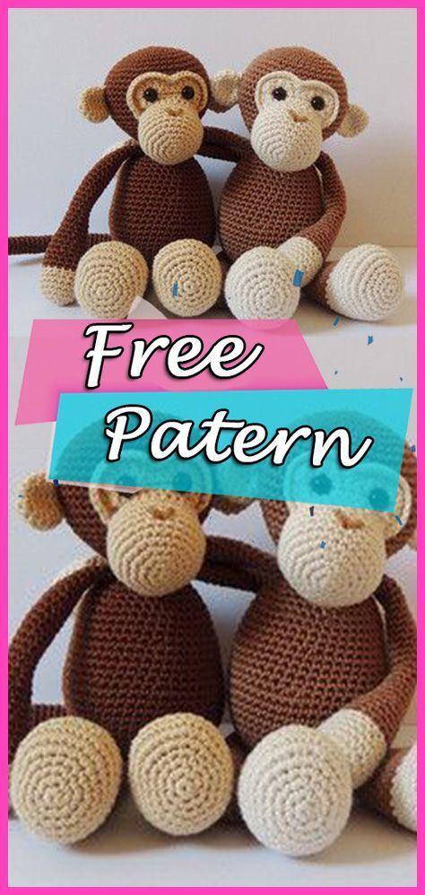 Crochet Monkey Pattern Amigurumi PDF-Monkey Crochet Pattern ... | 997x474