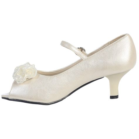 a39157180c38 Open Toe Short Heel Ivory Dress Shoes with Top Strap (Toddler or Girls  Sizes)