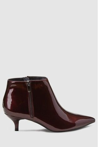Berry Patent Kitten Heel Ankle Boots Leather Boots Heels Kitten Heel Ankle Boots Kitten Heels