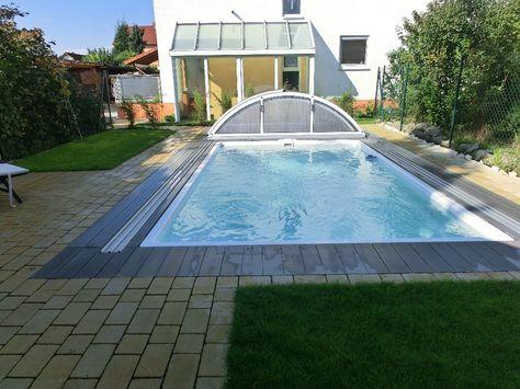 Schwimmbecken mit weißer Folie und Edelstahleinbauteilen Ideen - reihenhausgarten und pool