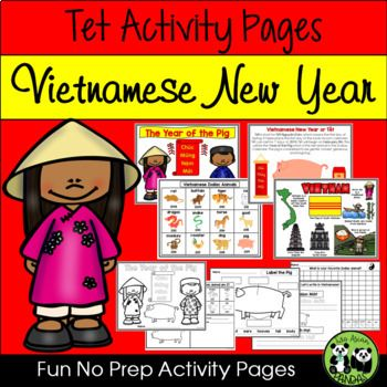 Tet Activity Pages For Vietnamese New Year New Years Activities Holiday Activities For Kids New Year Coloring Pages