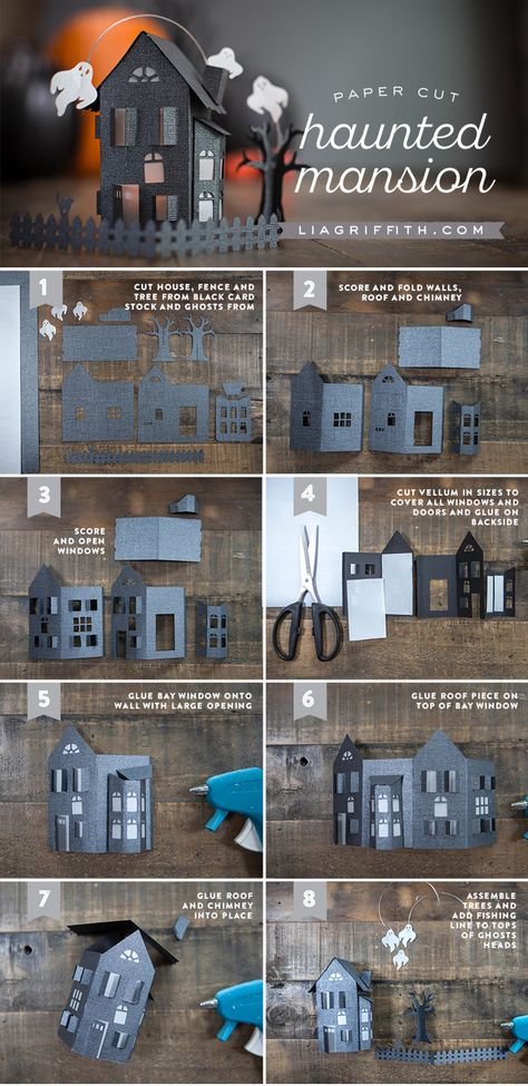 Paper Cut Haunted Mansion - Tutorial and template (SVG cutting machine file AND a PDF). Use as a centerpiece or in a diorama!