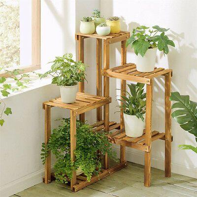 Corner Garden Plant Stand Wood Multi Tiered Flower Display Rack