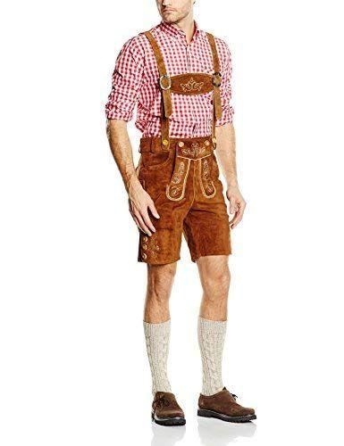 FROHSINN Damen Lederhose Kurze Lederhose f/ür Damen Oktoberfest Trachtenlederhose
