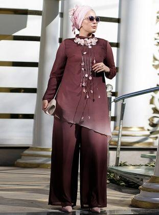 Degrade Tunik Pantolon Ikili Abiye Takim Pudra Nesrin Emniyetli Moda Stilleri Tunik Giyim