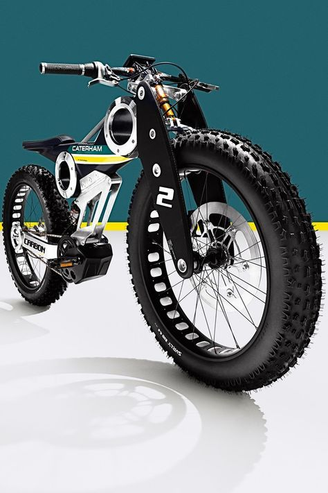 Technically, it's a moped. Caterham Brutus 750 Carbon E Bike Velo Retro, Velo Vintage, Velo Design, Bicycle Design, Push Bikes, Motorized Bicycle, Fat Bike, Motorcycle Bike, Custom Bikes