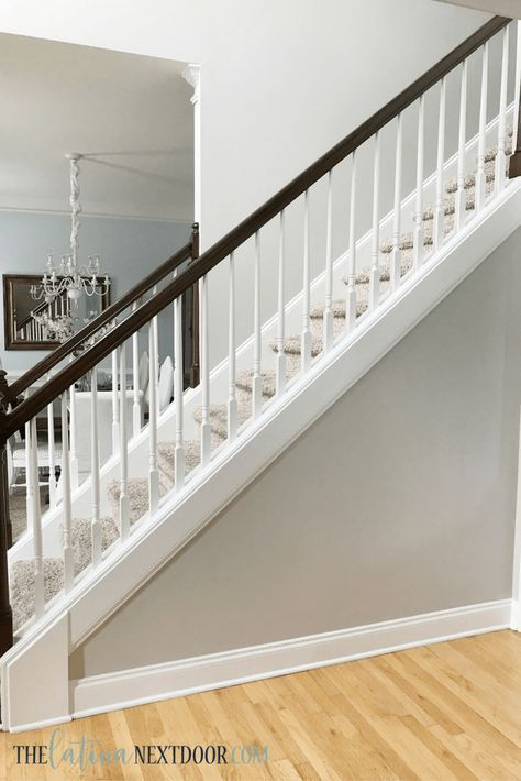 Update Your Foyer To A More Elegant Space Stair Railing Makeover Grey Walls White Trim
