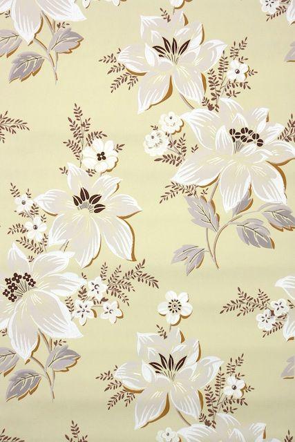 1950s Floral Vintage Wallpaper Iphone Wallpaper Vintage Flower Drawing Vintage Wallpaper