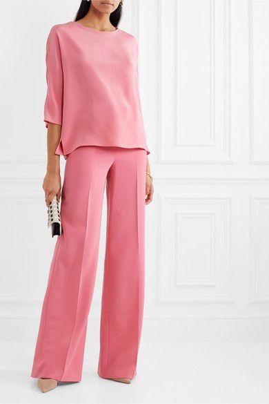 Pink Silk Crepe De Chine Top Akris Dress Shirts For Women Silk Crepe Business Women Fashion