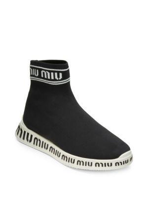 Logo Sock Sneakers #Shoes #MIU MIU