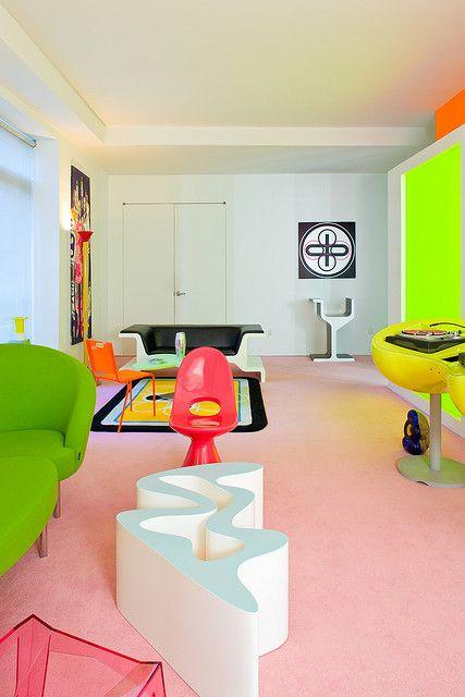 Apartment Design, Chelsea Loft Designed By Karim Rashid: Awesome Patterns and Colors Collide in Vivid New York Loft Karim Rashid, Home Interior, Interior And Exterior, Interior Decorating, Colorful Interior Design, Colorful Interiors, Interior Colors, Loft Design, House Design