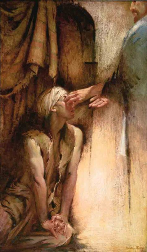 He Anointed the Eyes of the Blind Man — Walter Rane
