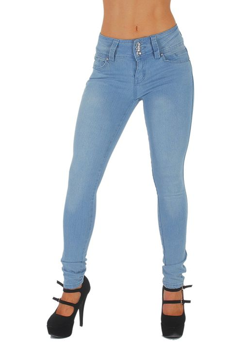 Mid Waist Colombian Design Levanta Cola Butt Lift Skinny Jeans