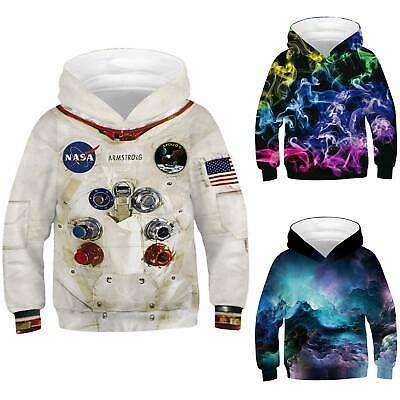 Kids Girls Boys 3D Print Hoodies Sweatshirts Hooded Jumper Pullover Sweater Tops
