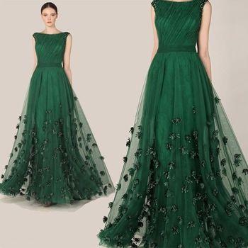 Moda Elegante Zuhair Murad Vestido Verde Esmeralda Tulle