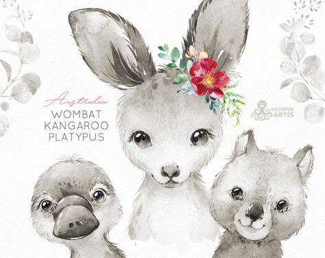 Australia. Black & White. Wombat Kangaroo Platypus Watercolor | Etsy