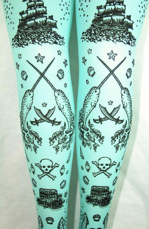 8c924fdb4b8c8 Pirate Printed Tights Semi Opaque Small Medium Black on Light Blue Pastel  Narwhal Tattoos Womens Sailor. $17.50, via Etsy.