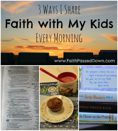 Do you want to share Jesus with your kids each day, but you feel too busy or overwhelmed? These simple faith-building practices take just a few minutes each morning but make a big difference in pointing kids to Jesus! // FaithPassedDown.com