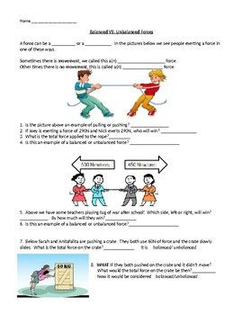 Balanced Vs Unbalanced Forces Unbalanced Homeschool Science Force